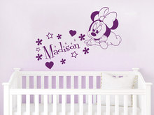 Custom Name Decals Mouse Art Personalized Girls Name Wall Sticker Baby Nursery Bedroom Decor Vinyl Home Decal Muurstickers A505(China)
