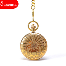 Royal Gold Crown Art Designed Case Roman Numbers Hand Wind Key Chain Mechanical Pocket Watch Wholesale 100pcs/lot  PW384