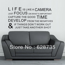 "29""x17.3"" Inspirational Sayings Life is like a camera Vinyl Wall Lettering Quotes Sayings Words Art Decals for living room"
