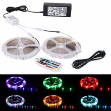 5m 10m LED Flexible Strip Light Kit SMD 3528 RGB 60leds/m Waterproof tape lamp + 28key RF Controller + 24V Power Supply adapter