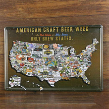 American Craft Beer Week Only Brew States Vintage metal Sign 20*30 cm Vintage Bar signs Wall Decor Retro Metal Art Poster