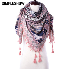 2017 Fashion Tassel Scarf Winter Scarf For Women Square Scaves Warm Girls Shawl Tassel Printed Wraps Women Thick Female Scarf