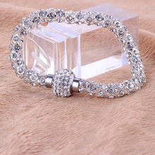 Wholesale Free Shipping Women's Silver Crystal Bracelet Best Design Fashion Bracelets For Women(China)