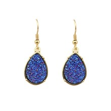 Bohemian Gold Frame Mini Water Drop Druzy Drusy Earrings for Women Fashion Teardrop Earrings(China)