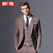 Sale Brand Mens Suit Jacket Formal Business Blazer Men Groom Three Pieces Slim Fit Party Clothing Single Button Wedding Dress(China)