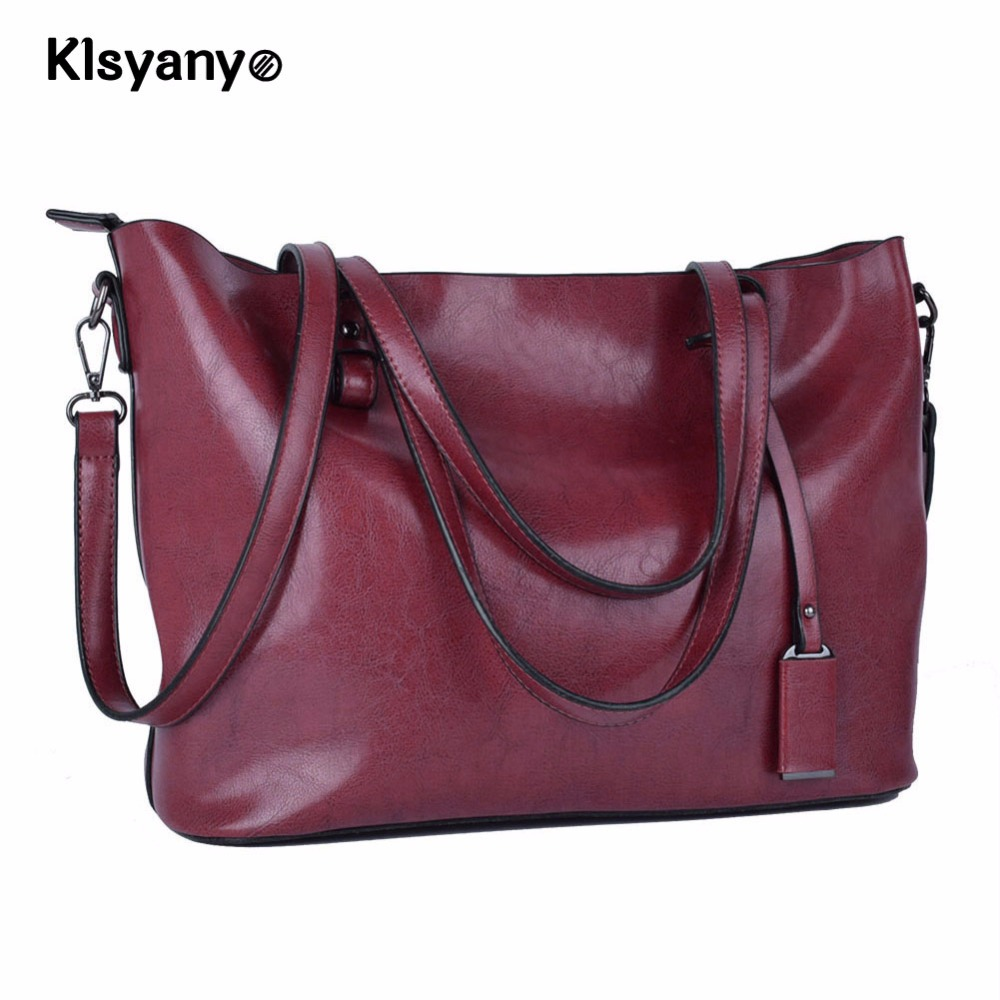 Klsyanyo Leather Bolsa Feminina Oil Wax Leather Women Tote Bag Handbags Shoulder Bag Purse Messenger Handle Satchel<br>