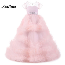 Pink Flower Girl Dresses For Weddings In Stock Kids Evening Dress Holy Communion Dresses Girls Pageant Gowns Vestido Longo(China)
