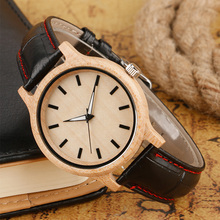 Hot Fashion Natural Wood Watch Black Snitch Genuine Leather Quartz-watches Bamboo Original Wooden Clock Men Simple Reloj de made