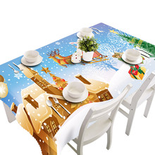 2017 high quality Polyester Merry Christmas Rectangular cartoon Printed Fabric Party Picnic Tablecloth 80*130cm(China)