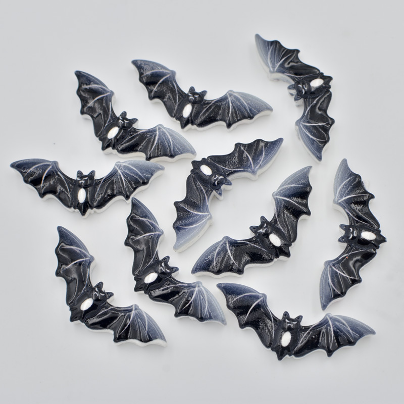 30pcs 13*35mm Painting Resin Black Bat Flatback Stone Child Scrapbook Craft/Christmas F185*3