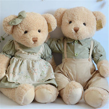 Lovely Teddy Bear Plush Toys 45cm 1 Pair Cute Couple Bears Plush Toys Peluche Dolls Gift Korea Fashion High Quality(China)