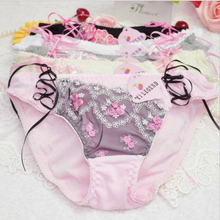 Buy New Sweet Color Cotton Panties M Size 5 Colors Floral Bow Lace Pink Soft Briefs Underwear Women Lingerie Cute Femme Panty