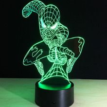 Super Awesome Spiderman LED Acrylic Table Lamp Toys Action Figures 7 Colors Changing Automatically Hulk Ironman Star Wars