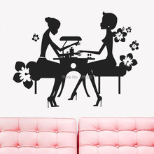 Sexy Girl Nail Vinyl Wall Decal Bedroom Nail Salon Hairdresser Beauty Nail Manicure Wall Sticker Hair Shop  Window Decoration