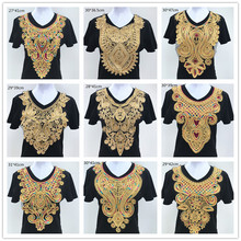 1pc Gold Embroidery Ethnic Style Collar Venise Sequin Floral Embroidered Applique Lace Neckline Collar Garment Accessories(China)
