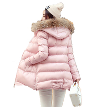 High Quality Winter Coat Women Cotton Padded Faux Fuzzy Fur Collar Hooded Cloak Slim Korean Style Warm Winter Plus XXL D149(China)