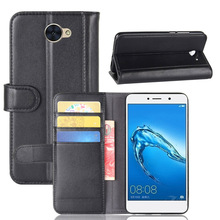 Flip Wallet Style Bovine Skin Leather Case Cover for Huawei Y7 Magnetic with Mastercard/Visa Card Slot Holders Stand Function(China)