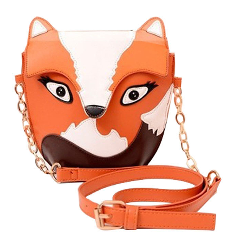 5pcs of  New fashion women leather handbag cartoon bag fox shoulder bags women messenger bag Orange<br>