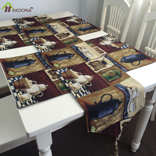 HAKOONA Vintage Nostalgic Coffee Teapot Tablecloth Tablecloths Table Runner Placemats Table Covers   Kitchen Decoration