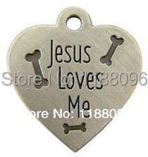 low price jesus loves me heart shape medal bones dog tag hot sales pet custom tag new metal dog cat tags(China)