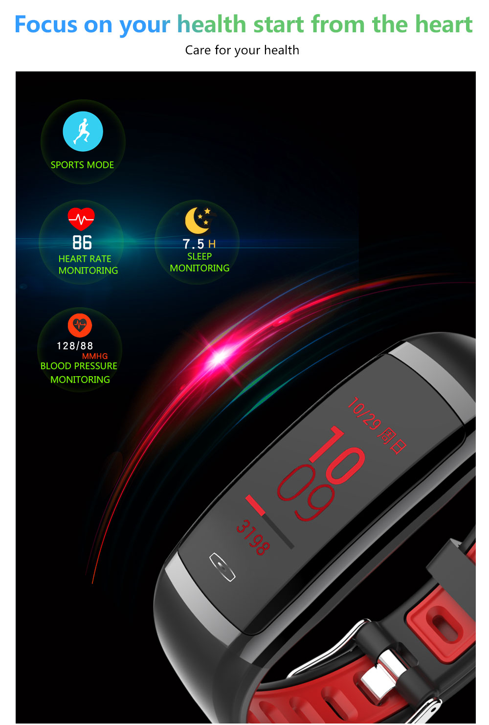 CD09 Smart Wristband Cicret band Watch Heart rate monitor Smartband Pulsometer Sport health Fitness Bracelet tracker for IOS (5)