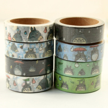 8 pcs/Lot cute Totoro paper tapes 1.5cm*5m washi tape Japanese Masking deco adhesive stickers Stationery school supplies 6889