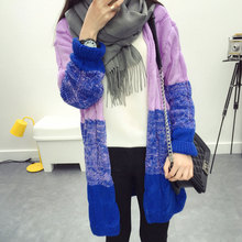 2017 Autumn Winter Gradient Color Knitted Crochet Sweater Twisted Cardigan Long Sleeve Warm Sweaters