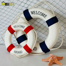 Umiwe 25cm Navy Nautical Welcome Aboard Life Buoy Home Decor Cloth Room Bar Wall Decoration 25*25*4.5cm