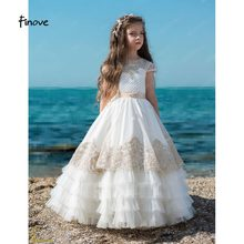 99fd01448 Finove Flower Girl Dresses For Wedding 2018 New Lace Appliques Beading Cap  Sleeve Button Long First Communion Dresses For Girls