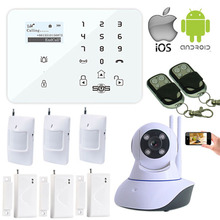 IOS Android APP WIFI Camera Home Security System Wireless IP Camera GSM Burglar Alarm System SMS K9 Door detector Senror W11I