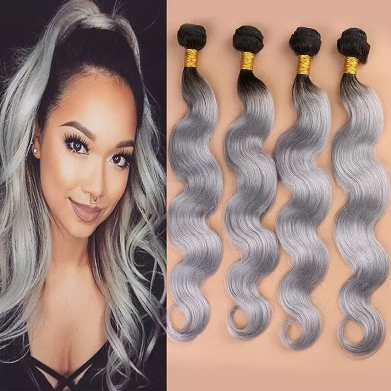 Hot Sale Ombre Silver Peruvian Virgin Hair 4Pcs Ombre Grey Hair Weave Body Wave Two Tone 1B/Gray Ombre 7A Peruvian Human Hair<br><br>Aliexpress