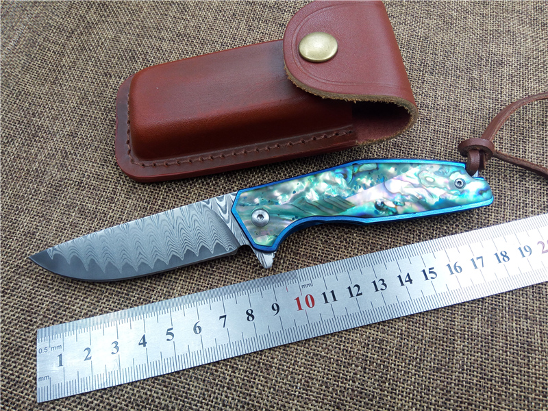 Top quality Damascus folding knife VOLTRON tactical survival knife utility outdoor camping knives tool<br>