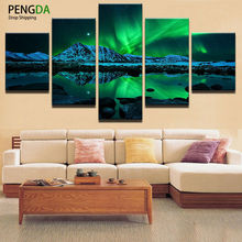 Decor Vintage Home Decor Paintings On Canvas 5 Panel Modular Pictures Night View Posters And Prints Pictures On The Wall