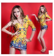 Bar DJ nightclub singer ds palace queen avatar unilateral strapless cheongsam fashion retro style costumes lead dancer clothing