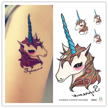 ZLJQ 10pcs Unicorn Party Decorations Disposable Tattoo Stickers Wedding Decoration Tattoo Party Celebration Supplies 7.5D(China)