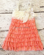 Cute Baby Lace Petti Dresses - Ivory Coral Lace Ruffle Dress - Girl Casual Dresses - Birthday Outfit - Kids Clothing