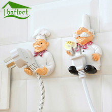 Wall Hooks Decorative New Dimensional Cartoon Chef Power Cable Plug Housing Hanger Hooks Creative Cute Strong Stick Hook(China)