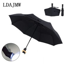 2017 New High quality Automatic Folding Umbrella LED Flashlight Lampumbrella Umbrella Anti-uv Sun/rain Sun Novelty Umbrella