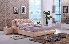 The modern designer leather soft bed / large double bedroom furniture, American style(China)