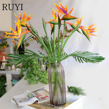 Quality artificial plants feel paradise bird fake flower cloth wedding living room bedroom with flowers decoration(China)