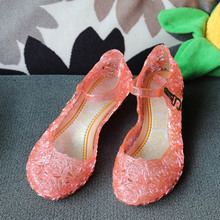 2016 baby shoes  Retail Princess Elsa summer girls shoes children sandals hole crystal party dance shoes 3 colors free shipping