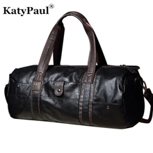 KatyPaul Business Men Travel Bag PU Leather Casual Fashion Large Capacity Handbags Luggage Portable Shoulder Bags For Male Boys(China)