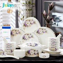 Chinese home dishes set garland fresh garden 28/56 head bone china tableware with wedding gift