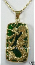 Wholesale price FREE SHIPPING ^^^^Beautiful GP green gem stone & dragon pendent Necklace(China)