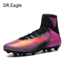 Men top soccer shoes de soccer Spike with high ankle kids football boots cleats sock boots football SHOES sneakers size 35-44