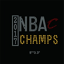 25 Pieces/Lot 2017 NBA CHAMPS Iron On Rhinestone Design for Sports cap(China)