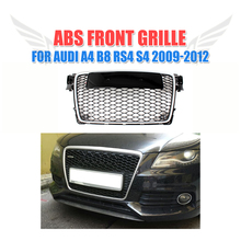 Front Grille Silver Frame Black Honeycomb Grill Auto Car Grill Fit For Audi A4 B8 S4 RS4 09-12 Grille Guard Car Styling