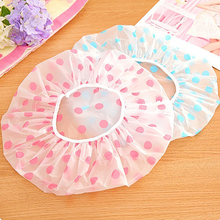 Lovely Dots Thickened Waterproof Transparent Shower Cap Bathroom Bathing Hat Store 48