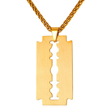 Classic Shave blade Charm Pendant Necklace Women Men Jewelry Stainless Steel Gold/Black Gun Plated Necklaces Pendants P120