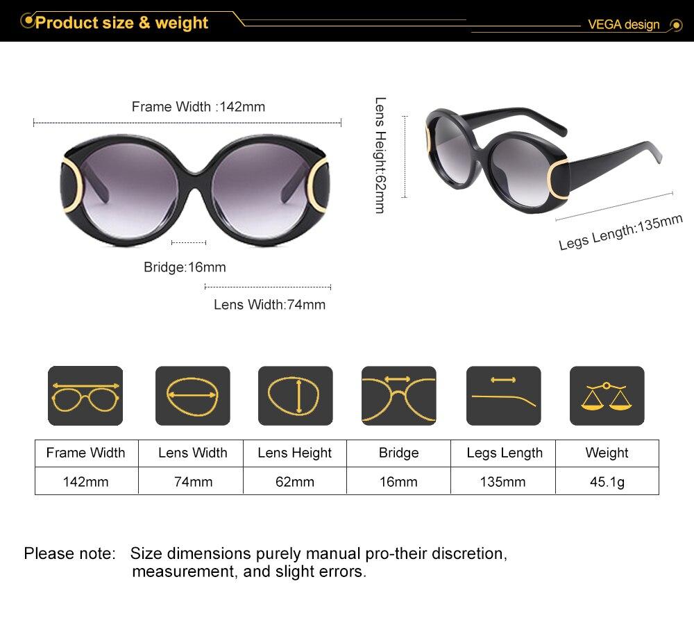 VEGA Eyewear Fashion Oval Sunglasses Women for Big Face Ladies Oversized Glasses with Large Frame Retro Vintage Sunglasses 226 (3)